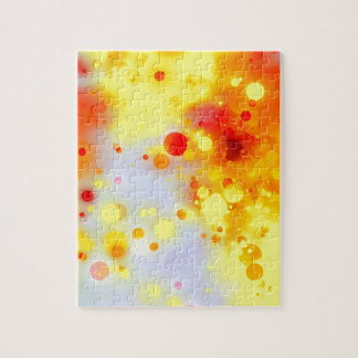 Bold & Chic Yellow Red Orange Watercolor Abstract Puzzle