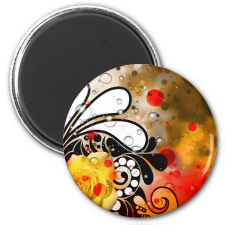Bold & Chic Yellow Rose Red Watercolor Abstract 2 Inch Round Magnet