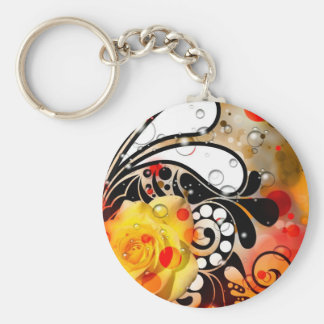 Bold & Chic Yellow Rose Red Watercolor Abstract Basic Round Button Keychain
