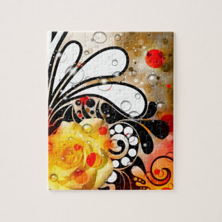 Bold & Chic Yellow Rose Red Watercolor Abstract Puzzle