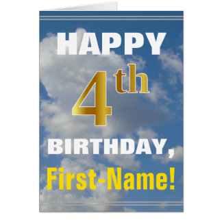 Bold, Cloudy Sky, Faux Gold 4th Birthday + Name Card