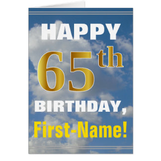 Bold, Cloudy Sky, Faux Gold 65th Birthday + Name Card