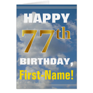 Bold, Cloudy Sky, Faux Gold 77th Birthday + Name Card
