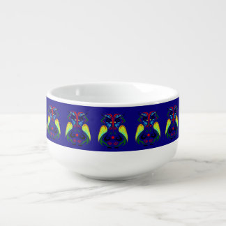BOLD COBALT BLUE COLORFUL TATTOO OWL SOUP MUG
