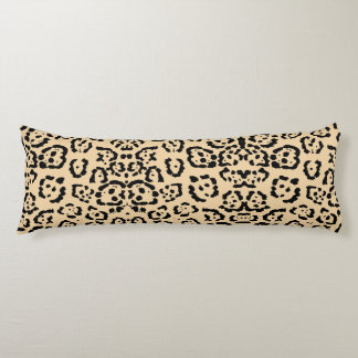 Bold Coffee Leopard Animal Cat Print Brown Body Pillow