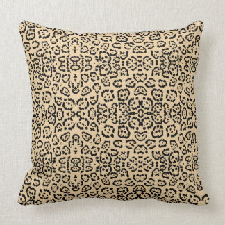 Bold Coffee Leopard Animal Cat Print Brown Throw Pillow