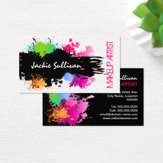 Bold Color Splash Makeup Artist Business Card