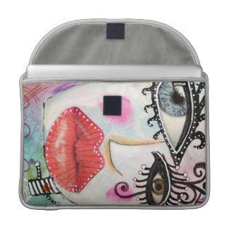 Bold Colorful Big Eye Collage Art Graffiti Red Lip Sleeve For MacBook Pro