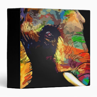 Bold Colorful Elephant Head Portrait 3 Ring Binders