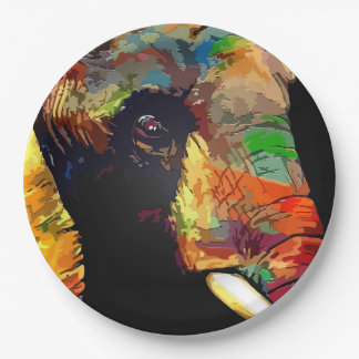 Bold Colorful Elephant Head Portrait 9 Inch Paper Plate
