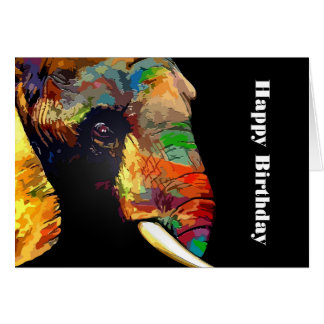 Bold Colorful Elephant Head Portrait Birthday Card
