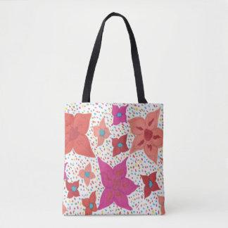 Bold Colorful Floral and Polka Dot Print Tote Bag