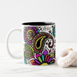 Bold Colorful Flower Love Paisley 2 Tone Mug