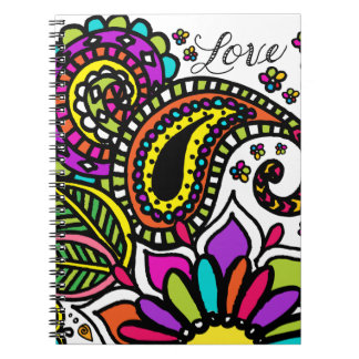 Bold Colorful Flower Love Paisley Kids Art Notebooks