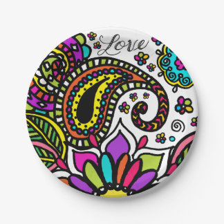 Bold Colorful Flower Love Paisley Kids Paper Plate 7 Inch Paper Plate