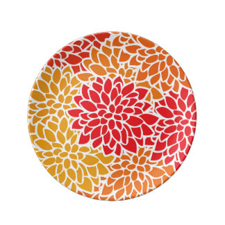 Bold Colorful Flower Modern Bright Porcelain Plate
