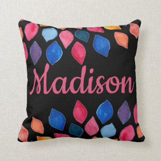 Bold Colorful Flower Petals Floral personalize Throw Pillow
