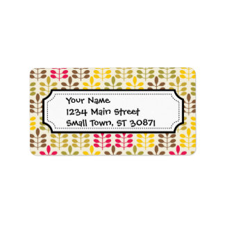 Bold Colorful Leaf Pattern Pink Green Brown Yellow Address Label