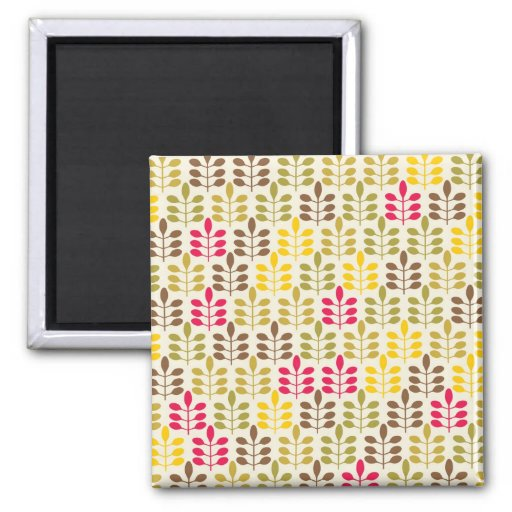 Bold Colorful Leaf Pattern Pink Green Brown Yellow Magnet