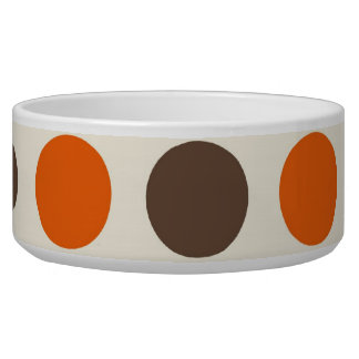 Bold Colorful Orange Pink Yellow Brown Polka Dots Pet Bowls