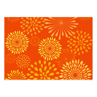 Bold Colorful Orange Yellow Flower Line Art Large Business Card