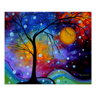 Bold Colorful Original Painting Landscape Art Poster