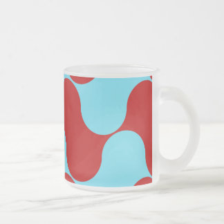 Bold Colorful Teal Turquoise Red Wavy Pattern Frosted Glass Coffee Mug