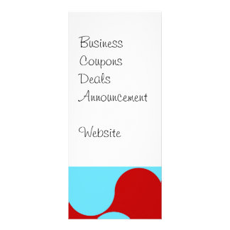 Bold Colorful Teal Turquoise Red Wavy Pattern Rack Card Template