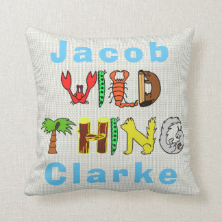 Bold Colorful Wild Thing Personalized Name Baby Throw Pillow
