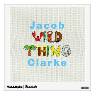 Bold Colorful Wild Thing Personalized Name Baby Wall Decal