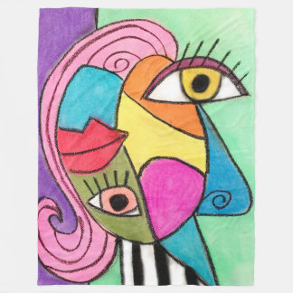 Bold Colour Block Abstract Eyes Lips Cubism Bright Fleece Blanket