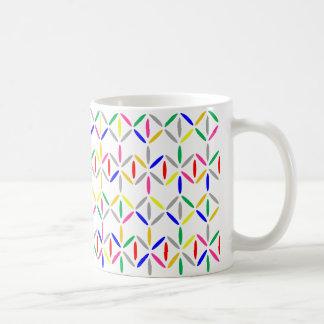 Bold colourful diamond stripe mug