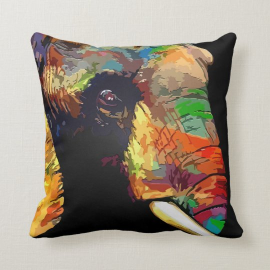 Bold Colourful Elephant Head Portrait Throw Pillow