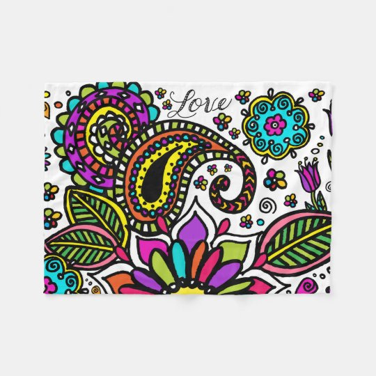 Bold Colourful Flower Love Paisley Fleece Blanket