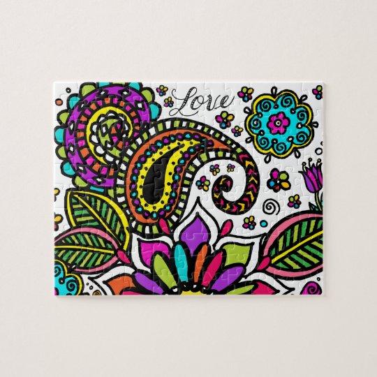 Bold Colourful Flower Love Paisley Kids Art Puzzle