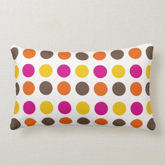 Bold Colourful Orange Pink Yellow Brown Polka Dots Lumbar Pillow