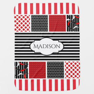 Bold Contrasting Patterns w/Name Personalization Baby Blanket