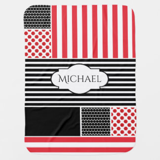 Bold Contrasting Patterns w/Personalization Baby Blanket