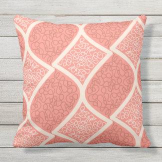 Bold Cream on Salmon pink Throw Pillow