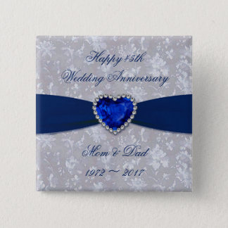 Bold Damask 45th Wedding Anniversary Button