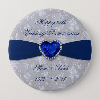 Bold Damask 45th Wedding Anniversary Magnet 4 Inch Round Button