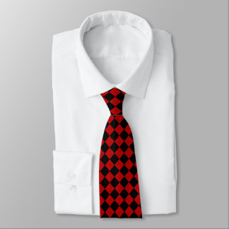 Bold diamond black and red checker pattern tie