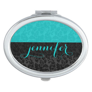 Bold Elegant Black & Turquoise Floral Damasks Compact Mirrors