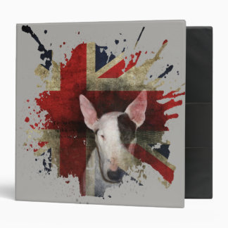 Bold English Bull Terrier with Flag Background 3 Ring Binder