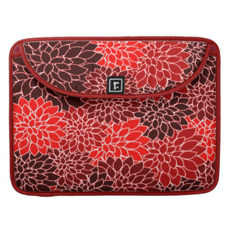 Bold Expressions Cute Red Dahlia Flower Pattern Sleeve For MacBooks