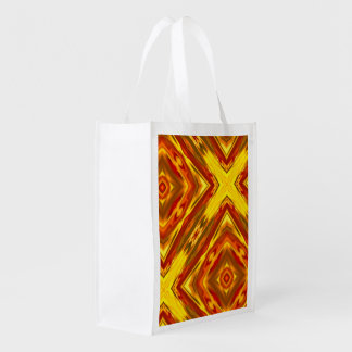 bold fall gold red orange abstract geometric reusable grocery bag