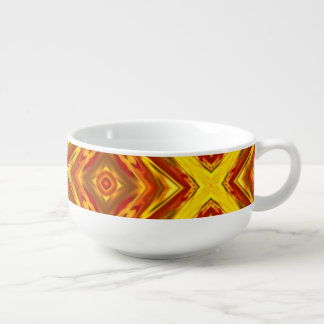 bold fall gold red orange abstract geometric soup mug