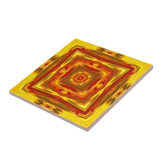 bold fall leaf colors abstract square mandala tile