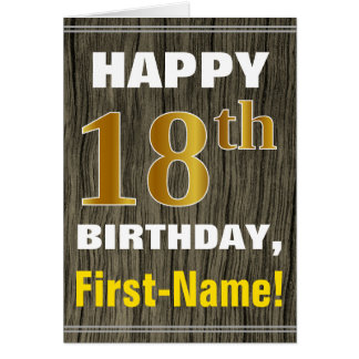 Bold, Faux Wood, Faux Gold 18th Birthday + Name Card
