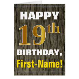 Bold, Faux Wood, Faux Gold 19th Birthday + Name Card